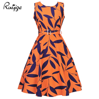 Ruiyig Black Floral Summer Women Work Dress Aurdey Vintage O Neck Sleeveless Tank Dress Ball Gown