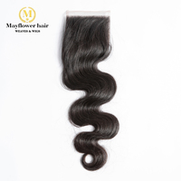 MFH Raw Indian virgin hair 4X4 Top lace closure Natural wavy Full hand tied with baby hair line Natural color 8-18 in stock