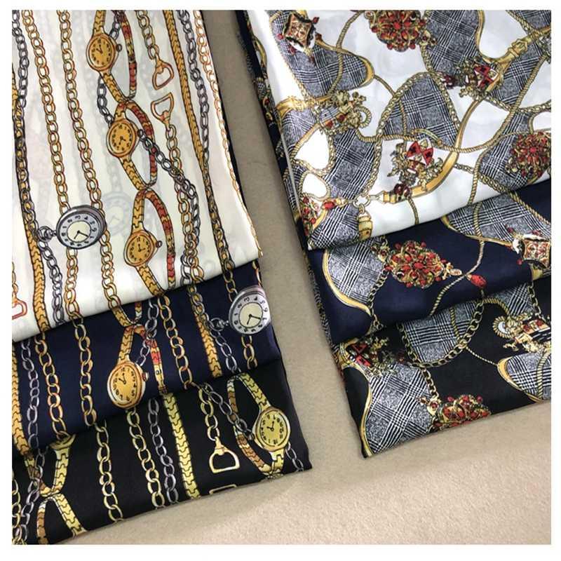 2019 retro European and American watch chain pattern printing clothing fabric soft drape dress polyester chiffon print cloth