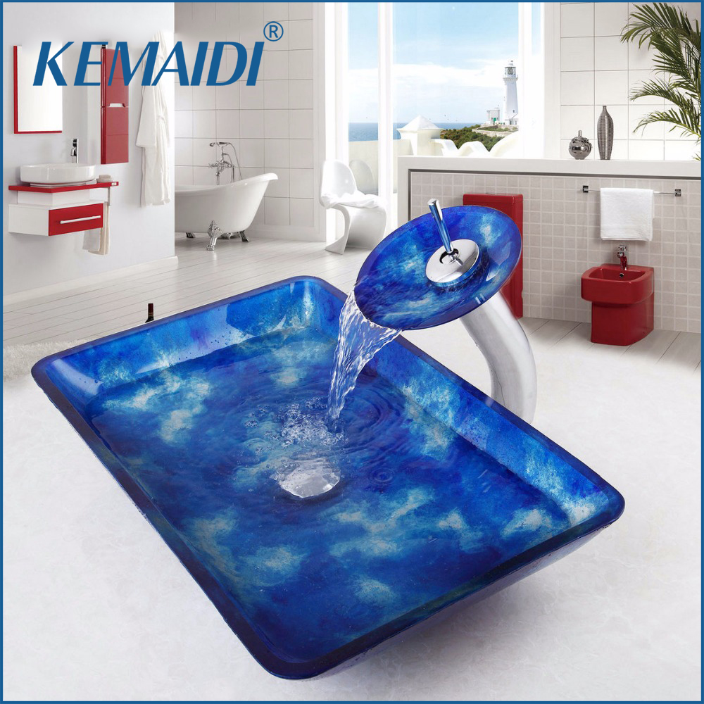 KEMAIDI Waterfall Spout Round Sink Tap Tempered Glass Vessel Faucet Bowl Bathroom Basin Hot & Cold Water Mixer Tap Counter Top golden brass kitchen faucet dual handles vessel sink mixer tap swivel spout w pure water tap