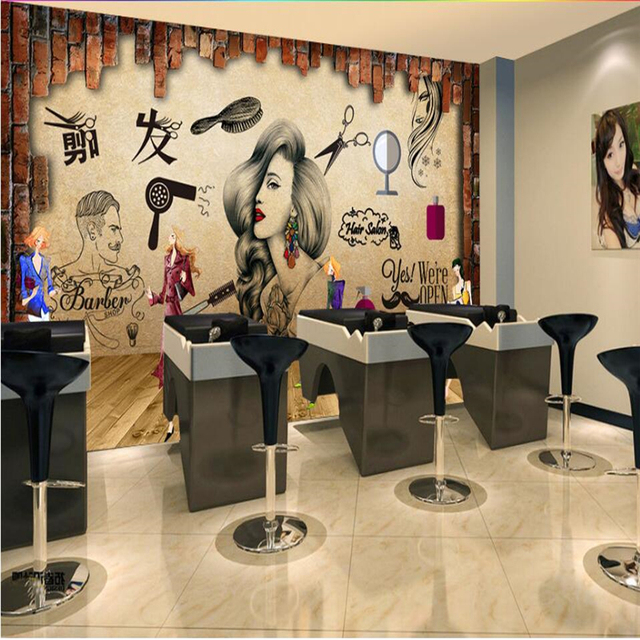 beibehang Salon hair salon beauty salon hairdressing shop nostalgic retro makeup background wall custom large fresco wallpaper