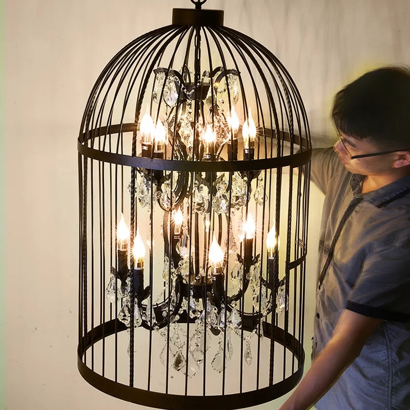 купить 35/45cm Nordic Birdcage Crystal Pendant Lights Iron Cage Home Decor American Vintage Industrial Lamp Retro Lamparas Colgantes недорого