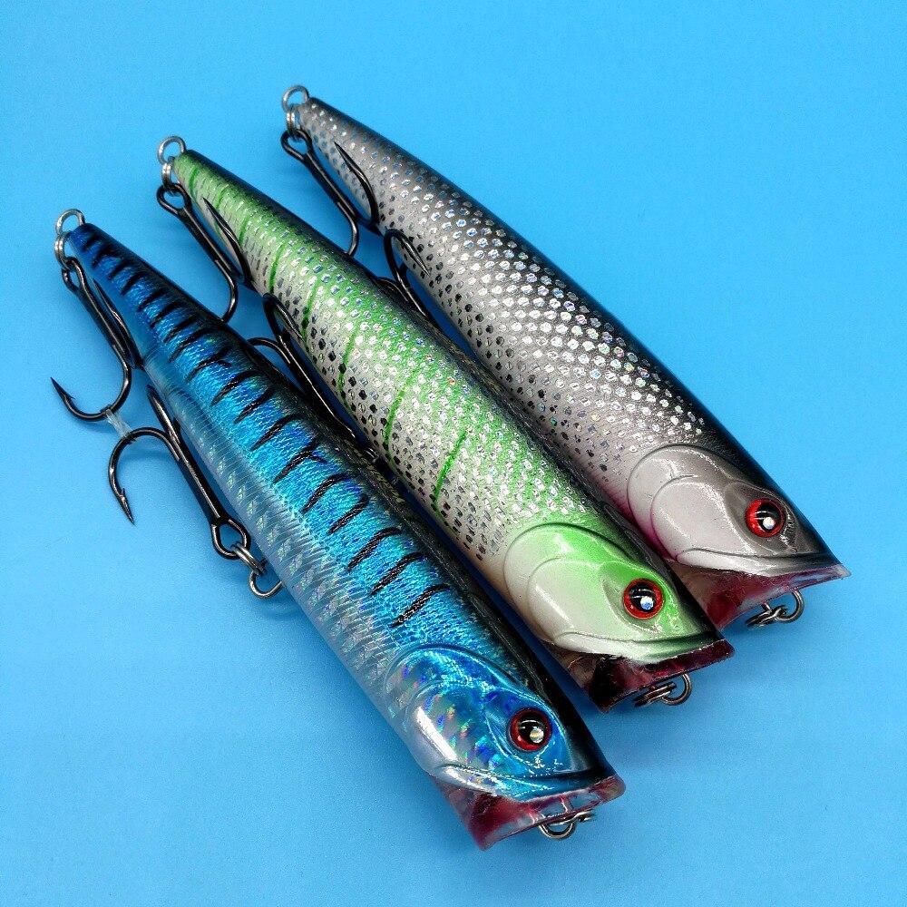 HOOFISH 3PCS/LOT Top water Fishing Lures 37g/13.5cm 3colors popper hard lure with JAPAN HOOK deep sea fishing bait