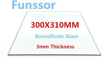Funssor 300x310x3mm Grande Taille Impression 3D Imprimante Borosilicate Plaque De Verre Plaque De Construction 3 MM épaisseur Plaque De Verre Verre Personnalisé