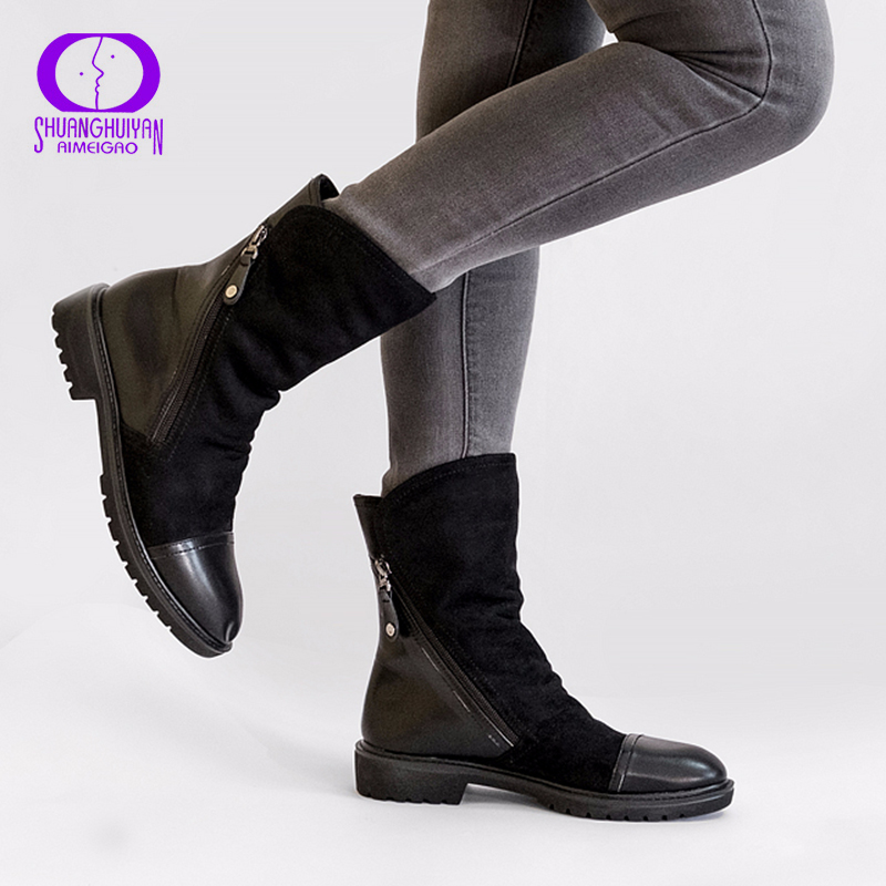 AIMEIGAO Fashion Suede Leather Boots For Women Faux Suede Flat Mid-Calf Boots Spring Autumn Women Boots Black Blue Shoes wedge heel faux suede mid calf sock boots