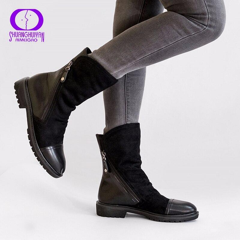 Aimeigao модные замшевые кожаные ботинки для Для женщин из искусственной замши ботинки до середины икры, без каблука Женские сапоги; сезон весна-осень обувь синего, черного цвета