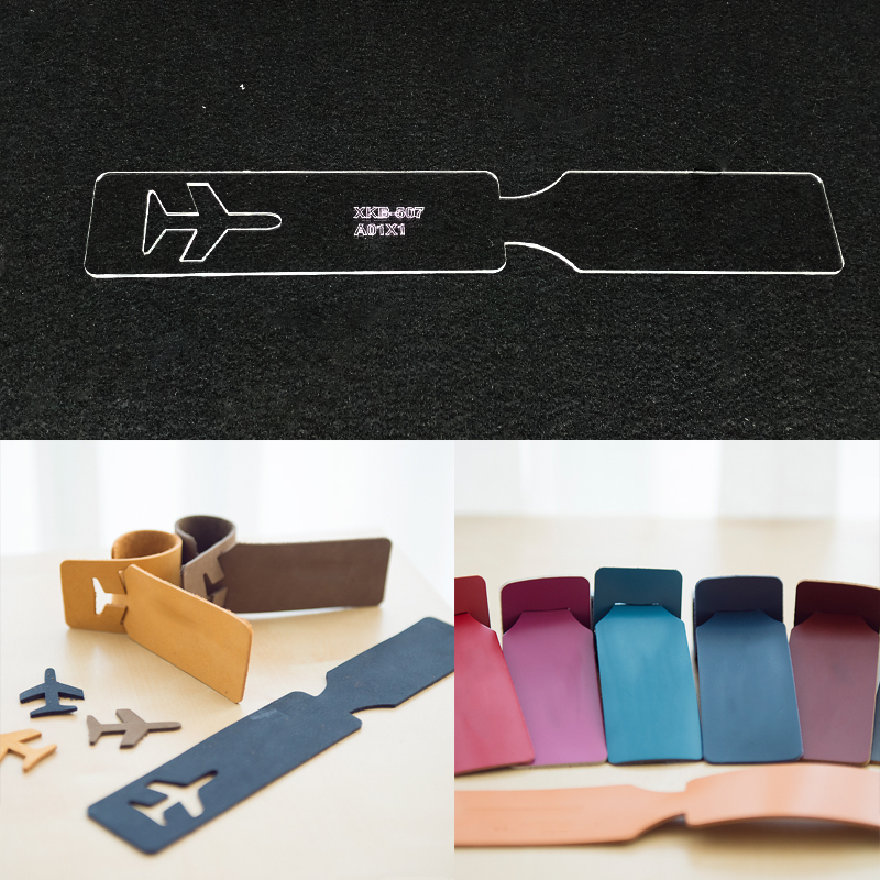 Handmamde Airplane Luggage Tag Acrylic Template Leather Pattern DIY Hobby Leathercraft Sewing Pattern Stencils 245x40mm image