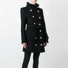 Высокое качество Новая мода осень зима дизайнерское пальто женское двубортное со львом пуговицами шерстяное пальто верхняя одежда
