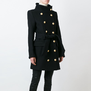 Image 1 - HIGH QUALITY New Fashion 2020 Fall Winter Designer Coat Womens Double Breasted Lion Buttons Wool Coat Overcoat