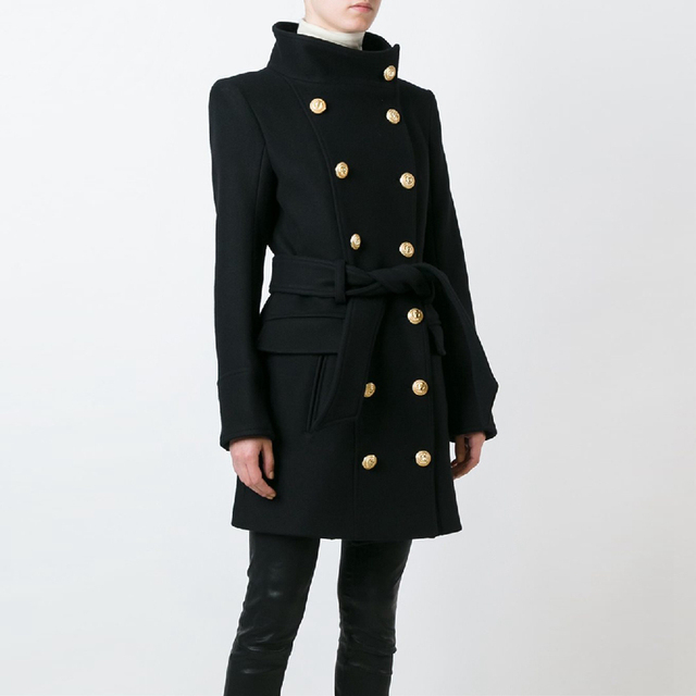 HIGH QUALITY New Fashion 2020 Fall Winter Designer Coat Womens Double Breasted Lion Buttons Wool Coat Overcoat