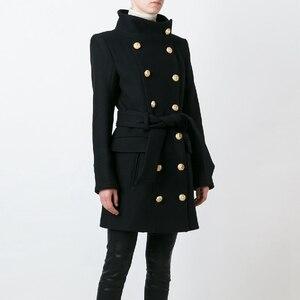 Image 1 - Pardessus en laine pour femmes, nouveau manteau de styliste, de haute qualité, croisé, boutons lions, à la mode, automne hiver 2020
