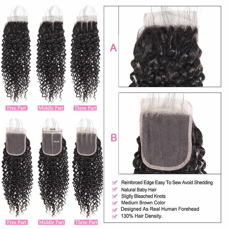 Lolly 3/4 пучки вьющихся волос с бразильские волосы с закрытием переплетения пучки с закрытием не Реми человеческих волос ткет с закрытием
