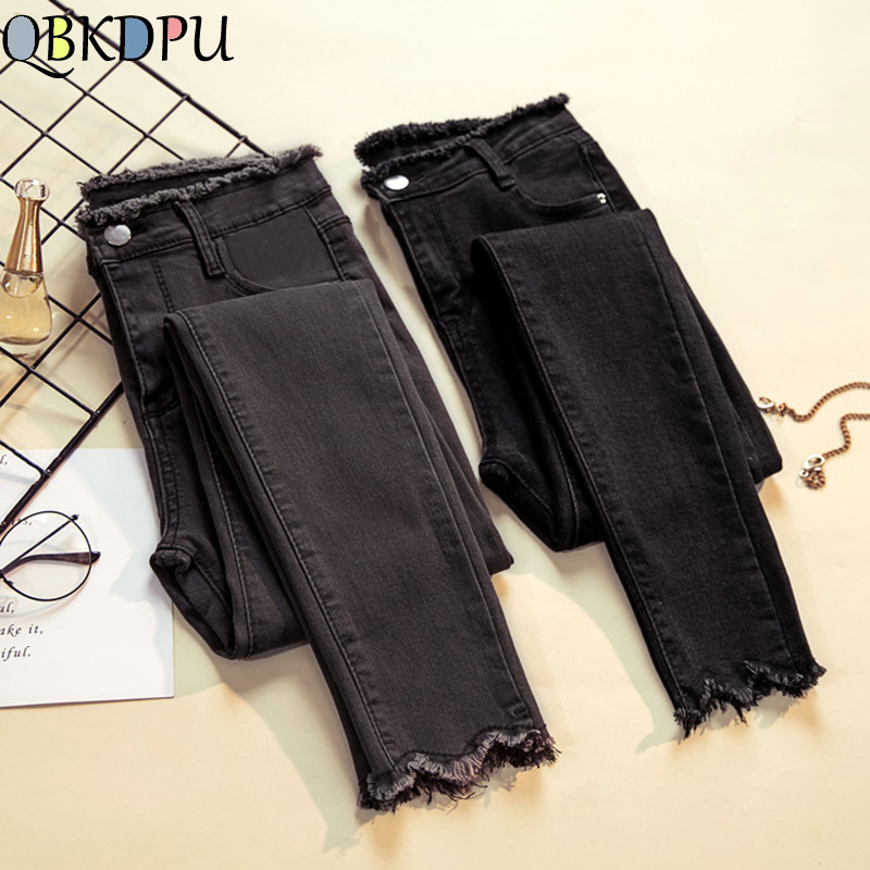 Plus Size slim   jeans   for women tassel high waist Donna Stretch Bottoms Female Pencil Skinny Trousers cotton Black denim pants