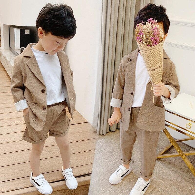 2 pièces ensemble enfant en bas âge garçons jolie pochette ensembles de vêtements pour bébé filles enfants simple boutonnage chemise et Shorts et pantalon costumes formels 2-7 Y