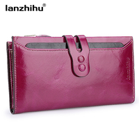 Women Genuine Leather Wallet High Quality Long Design Leather Purse Ladies Cowhide Card Case Female Phone