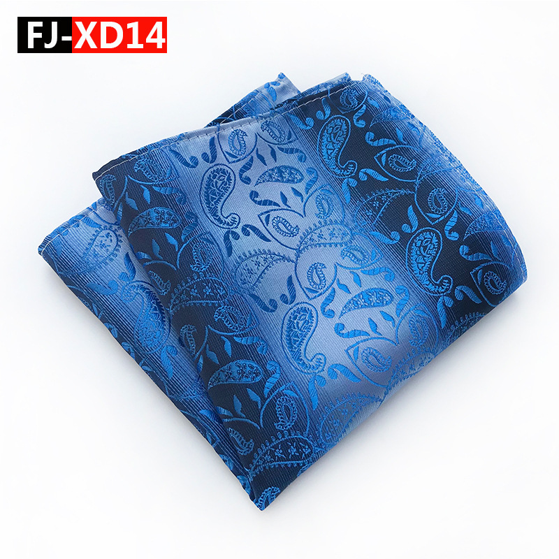 2019 Hanky Blue White Paisley Men's Fashion Pocket Square Hanky Wedding Party Striped Pocket Square Hanky