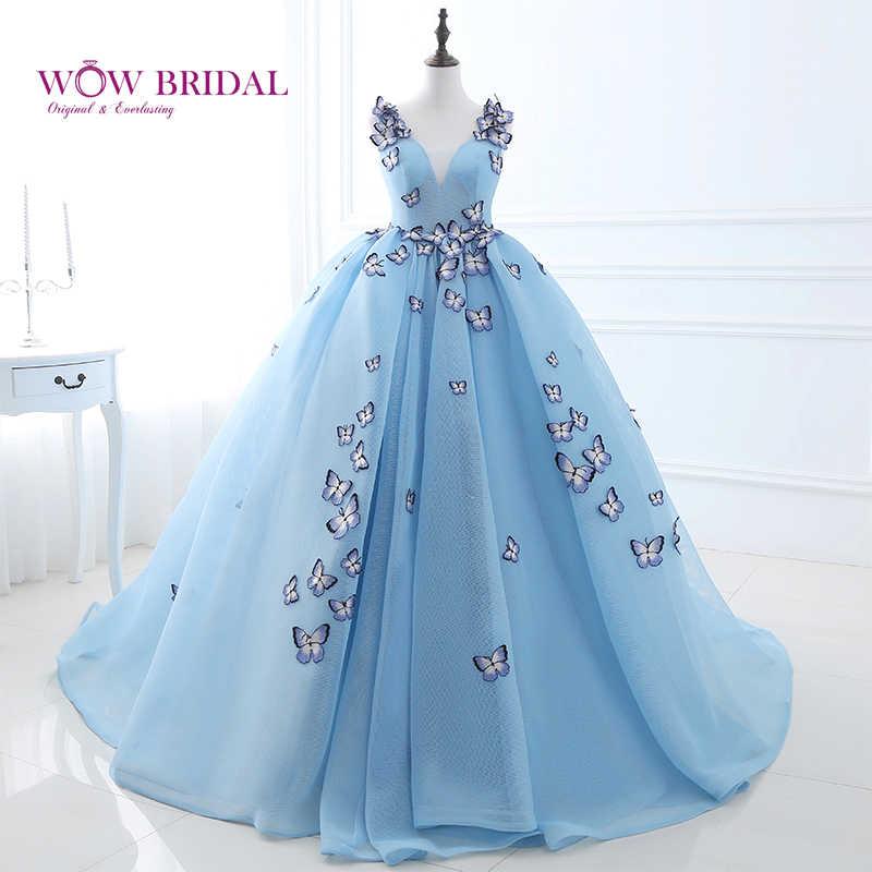 فستان سهرة مطرز على شكل فراشة من Wowbrial فستان سهرة طويل ورقبة على شكل V بدون أكمام فستان سهرة رسمي 26406