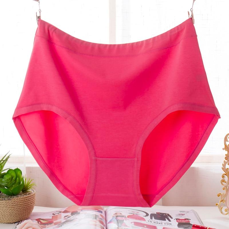 KL81 Plus size 6XL Women Underwear High Waist Cotton Briefs Female Comfortable Solid Lingerie Panties