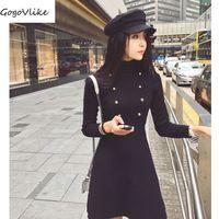 Vintage sólido negro una línea mini vestido elegante 2018 mujeres primavera Botones Vestido de manga larga retro Vestidos de punto Corea lt154s30