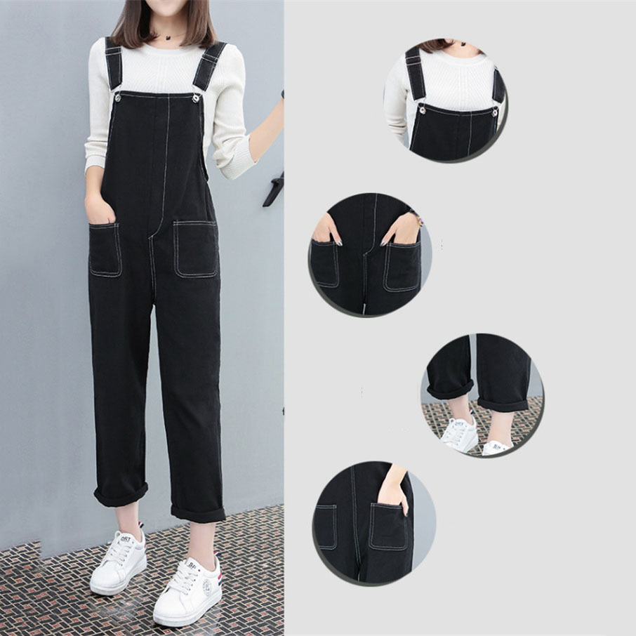Women 2019 New Denim Trendy All match Strap Trousers Daily Solid Simple Jumpsuit Korean Elegant Students Womens Rompers YH120 in Jumpsuits from Women 39 s Clothing