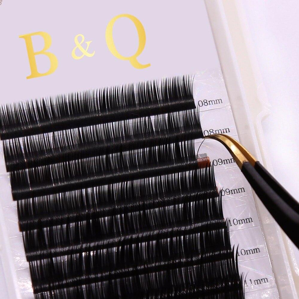 12 линий/лоток Профессиональный шелковые ресницы Индивидуальный ресниц для увеличения русский объем ресниц B/C/D curl BK1