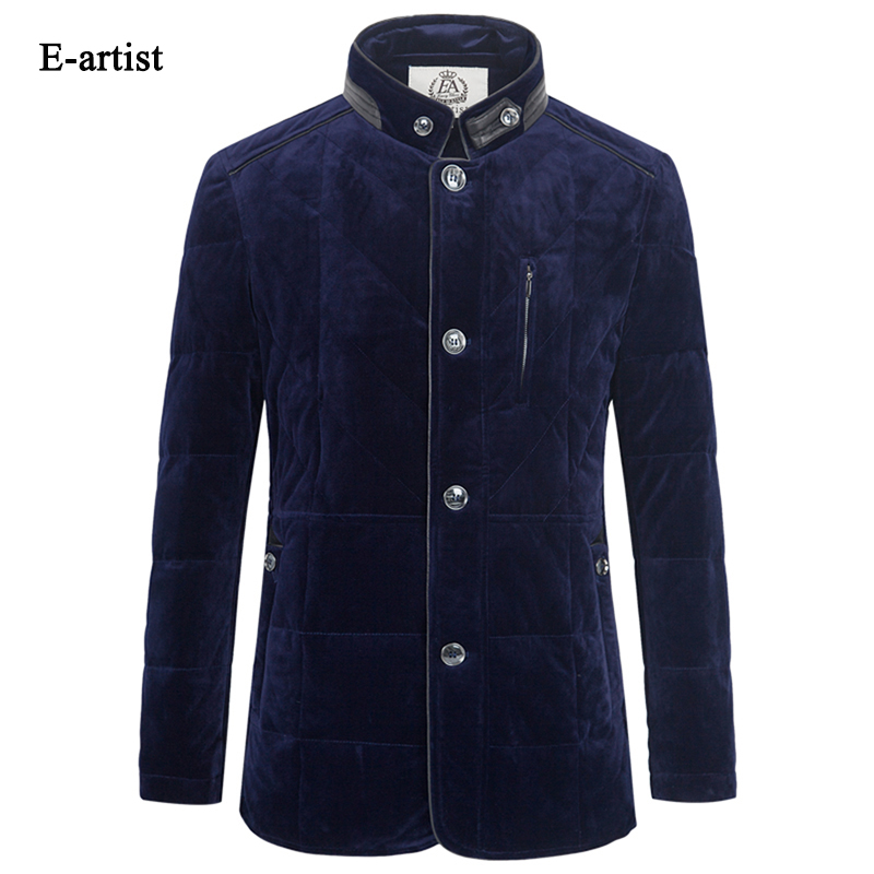 E-artist Mens Velvet Duck Down Jackets Coats Slim Fit Business Casual Male Parkas Outwear Overcoat for Winter Plus Size 5XL Y42