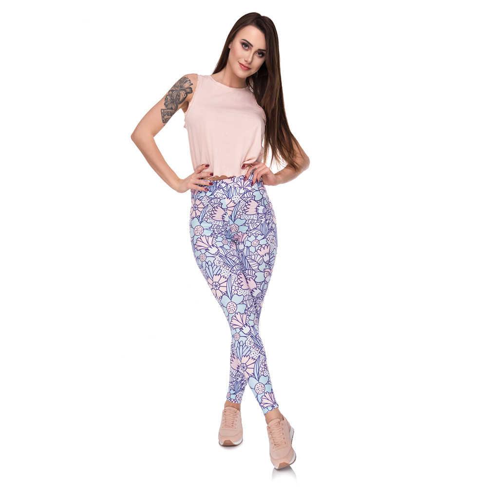 Thời Trang Cao Cấp Legging Hoa Pastel Hoạt Hình In Quần Legging Nữ Thể Hình Linh Hoạt Người Phụ Nữ Quần