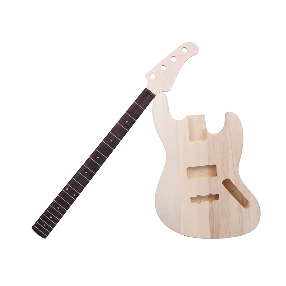 JAZZ Bass Style 4 String Electric Bass Solid Basswood Body Maple Neck Rosewood Fingerboard DIY Kit