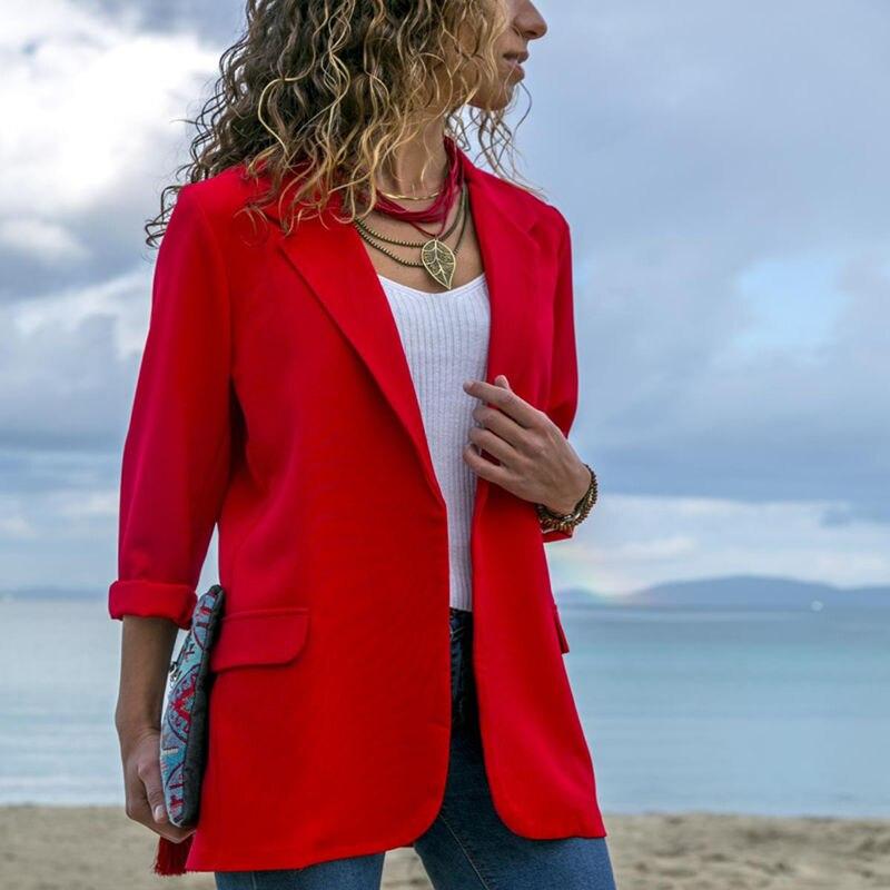 Anzüge & Sets Blazer Wpczqvza Neue Slim Frauen Arbeit Mode Anzug Einfarbig Büro Damen Uniform Design Hohe Qualität Weibliche Aufgeknöpft Revers Mantel SchüTtelfrost Und Schmerzen