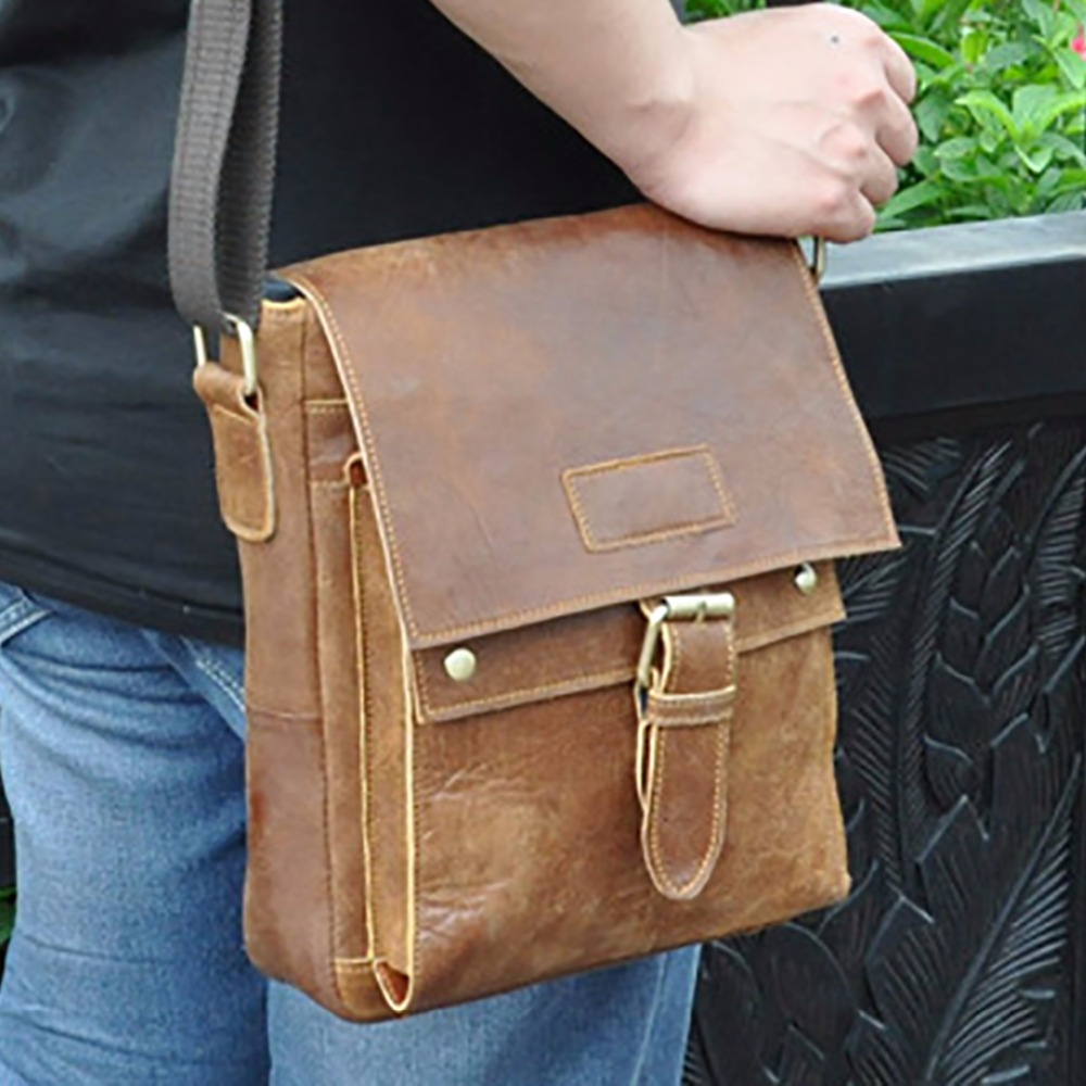 Oil Wax Cowhide Genuine Leather Single Shoulder Bag Men Vintage Casual School Cross Body Satchel Designer Male Messenger Bags