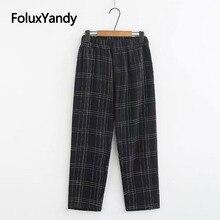 Plaid Summer Pants Black Trousers Women Plus Size XXXL 4XL Elastic Waist Loose Casual KKFY3766
