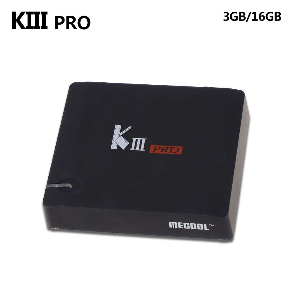 MECOOL KIII PRO TV Box Amlogic S912 S2 T2 DVB Octa Core Intelligent Android 6.0 3G 16G Dual Band WiFi 1000 M Médias lecteur