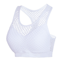 Breathable Mesh Sport Bra Top Women Hollow Out Cross Shockproof Push Up Yoga Bras For Fitness Running Gym Vest Top 2019 Newest