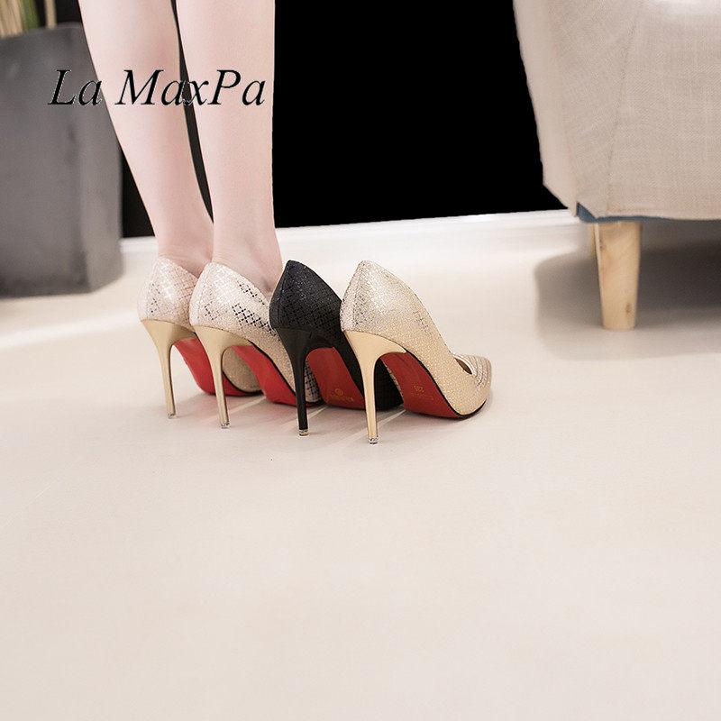 2018 New Fashion Sexy Women Rhinestone Wedding Shoes Pointed toe Pumps Red  Bottom High Heels Crystal 2fd21927e0d4
