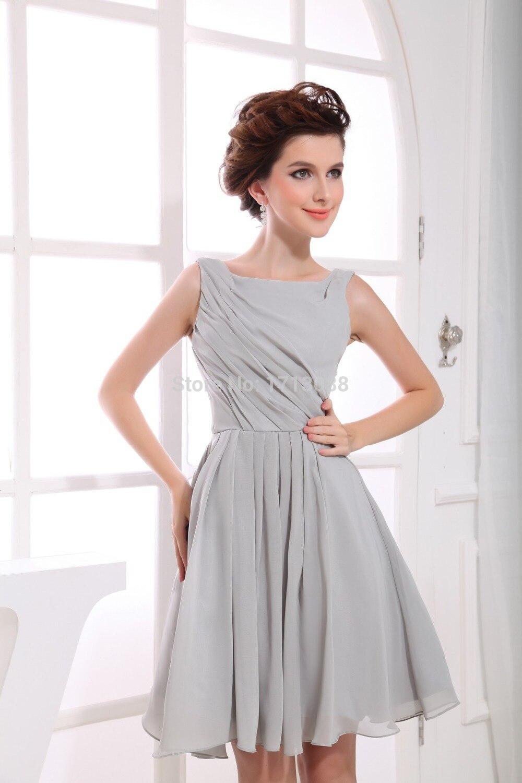 short grey prom dresses with Chiffon Sleeveless,knee length prom ...