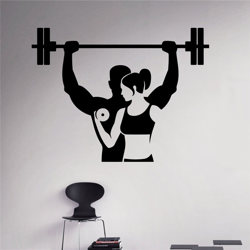 Huge Home Gym With Red Walls Home Gym Ideas: Fitness Wall Decal Workout Gym Vinyl Sticker Healthy