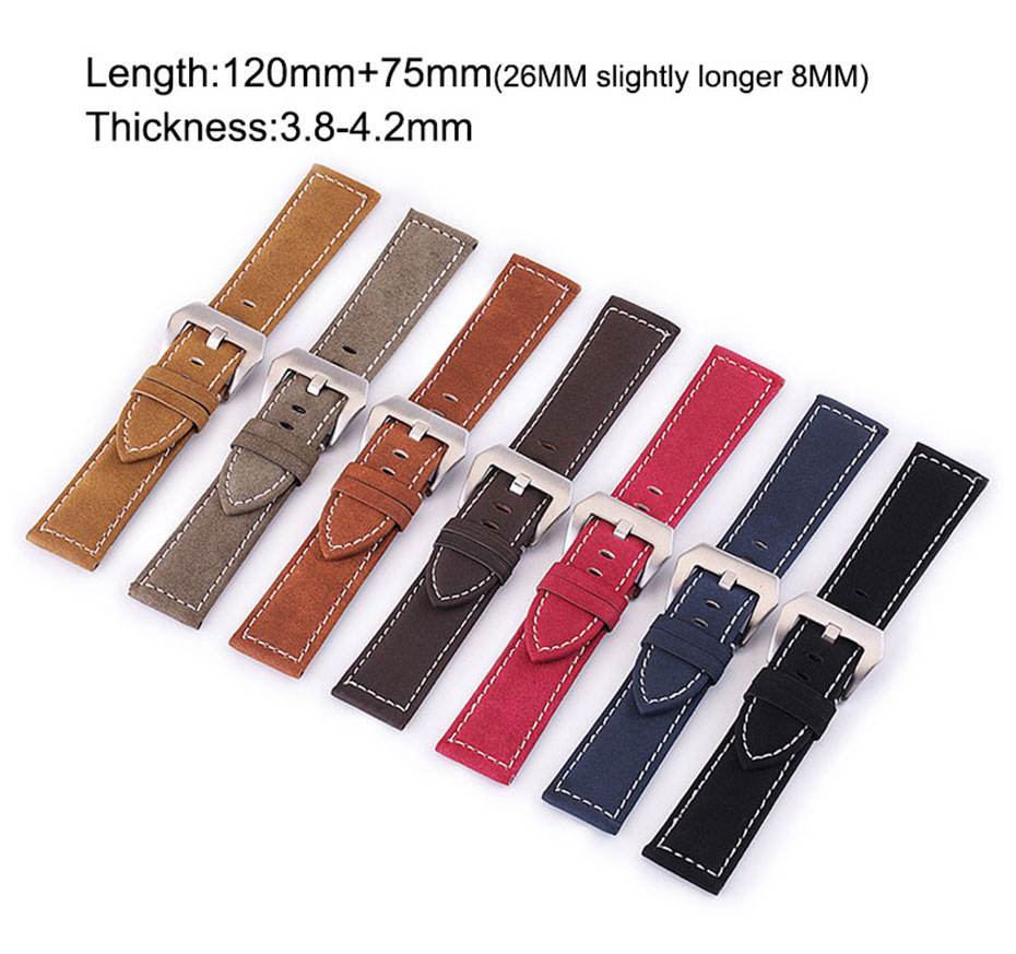 Nubuck leather watch band (18 mm to 24 mm)