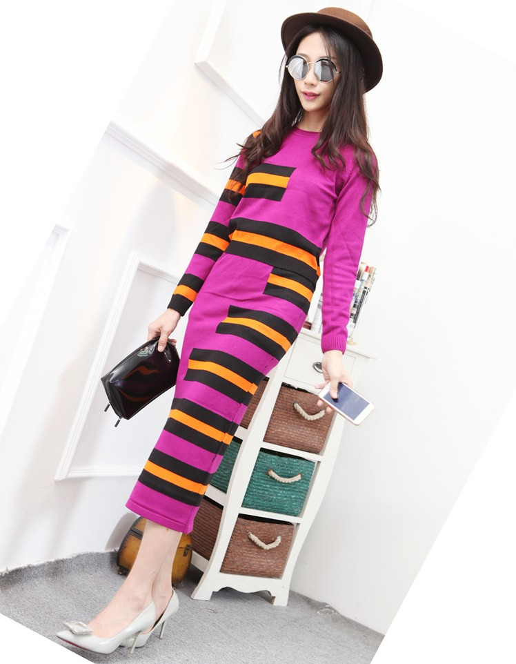 2016 Autumn Winter New Runway Skirt Suit Knitting Skirt Sets Women Casual Long Sleeve Striped Skirt Suits LY631