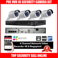 New HIK DS 7604NI E1 4P 4ch POE NVR With Original HIKVISION CCTV IP Camera DS