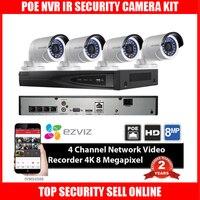 New HIK DS 7604NI E1 4P 4ch POE NVR With Original HIKVISION CCTV IP Camera DS
