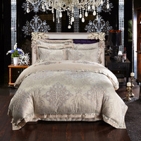 Luxury Baroque Damask Cotton Satin Jacquard And Ebroidered Bedding Set Queen King Size Duvet Cover Bed