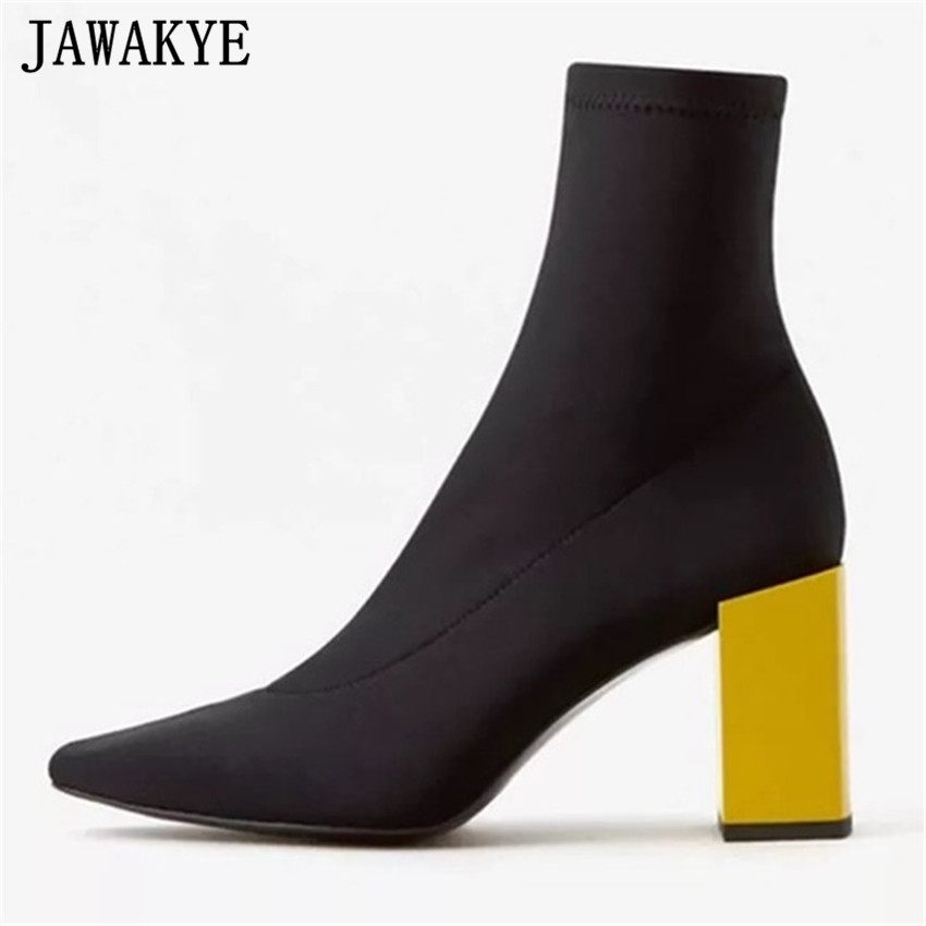 JAWAKYE 2018 New Square high Heel Stretch Fabric Women Botas Ankle Boots golden silver High Heel Sock Shoes Botines Mujer Pumps