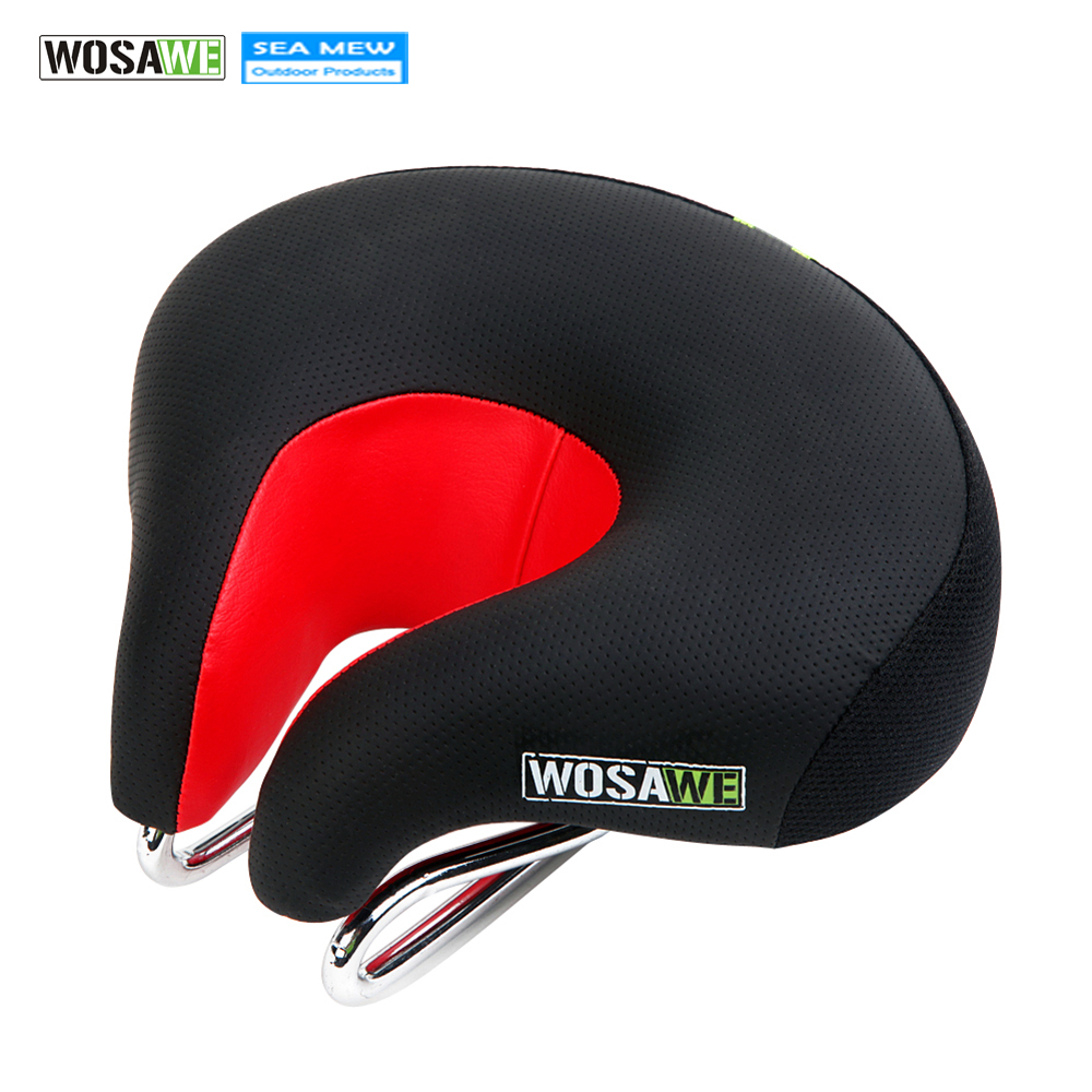 WOSAWE New Arrival Men Wide Thicken Bicycle Saddle Soft Comfortable MTB Mountain Road Cycling High Resilient Leather Bike Saddle new arrival mountain