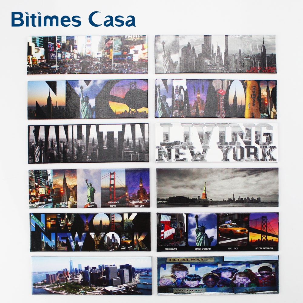 12PCS New Design New York Landscape Fridge Refrigerator Magnets Home Decors Yellow Cab Stature Of Liberty Travel Souvenir image