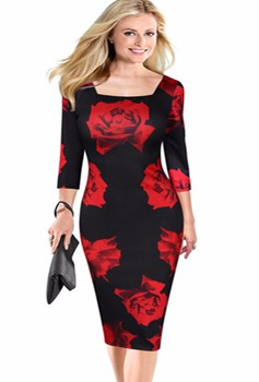 FEIBUSHI New Fashion 2016 Womens Vintage Elegant Floral Print Square Flow Casual Dress Special Occasion Pencil Sheath Dress (2)