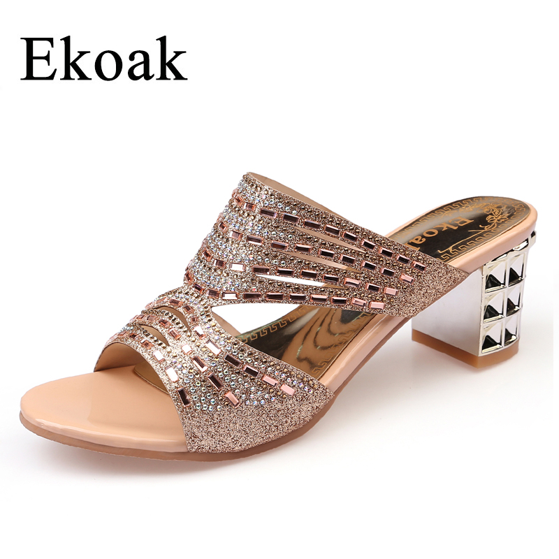 Ekoak New 2016 Summer Fashion Women Shoes Sexy Cut-outs Rhinestone Women Sandals Ladies High Heels Party Dress Shoes Woman цены онлайн