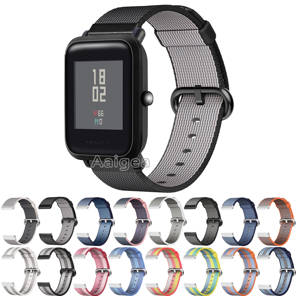 20mm Woven Nylon Watch Band Sport Strap for Huami Amazfit Bip BIT PACE Lite Youth Smart Watch Replacement watchband Wrist Loop 20mm milanese loop stainless steel watchband for xiaomi huami amazfit bip bit pace lite youth smart watch band wristband strap