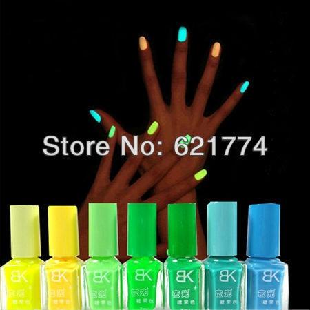 20Pcs/Lot Luminous Neon Glow In Dark Candy Color Fast Dry Nail Art Polish Fluorescent Nail Enamel Random Color Free Shipping