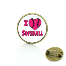 Nuove vendite di vetro cabochon Amo Softball spille casual sport uomini donne incanta badge pins monili fatti a mano SP360(China)