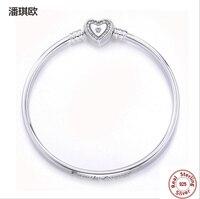 Retro 925 Sterling Silver Heart Gold Clip Clear CZ Bracelet Bangle For Women European Original Snake